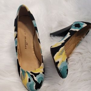 Bettye Muller watercolor floral chunky heels.